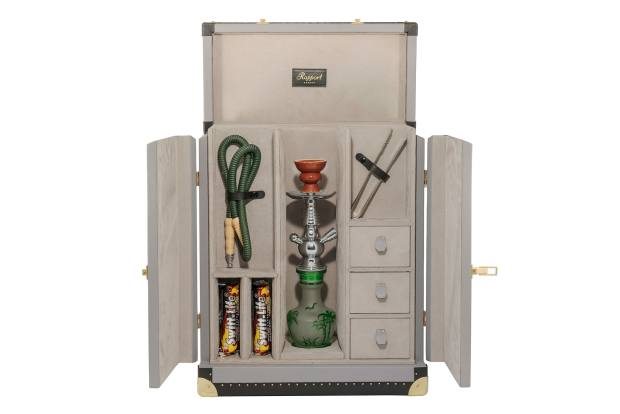 A personalised shisha trunk with compartments for tongs and coal