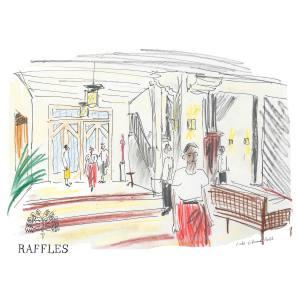 The lobby of Raffles Grand Hotel d'Angkor, as imagined by Luke Edward Hall