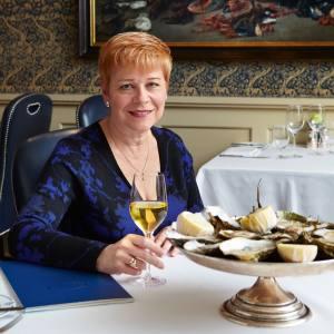 Linda Jackson dining at Bentley's, London