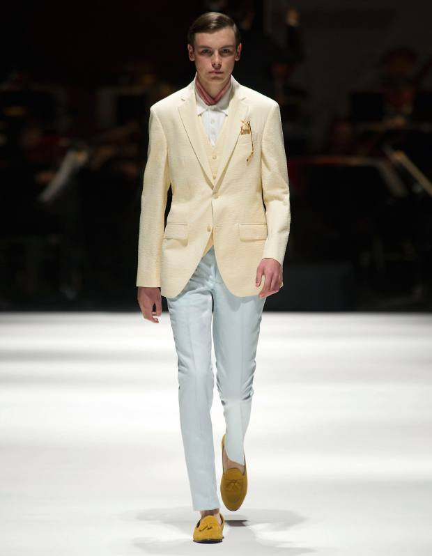 Hackett seersucker jacket, about £600, matching waistcoat, about £250, and cotton chinos, £100