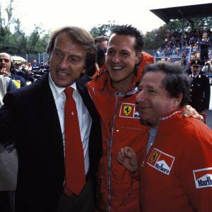 From far left: Luca Cordero di Montezemolo in 2001 with Michael Schumacher and Jean Todt, then team principal of Ferrari Racing