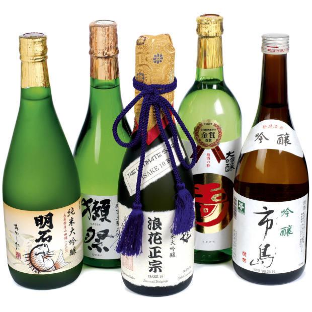 From left: Akashi-Tai Junmai Daiginjo. Asahi Dassai Migaki 39, Junmai Daiginjo. Isake 19 Junmai Daiginjo. Philip Harper's Tamagawa Kinsho. Ginjo Ichishima. See text for stockists.