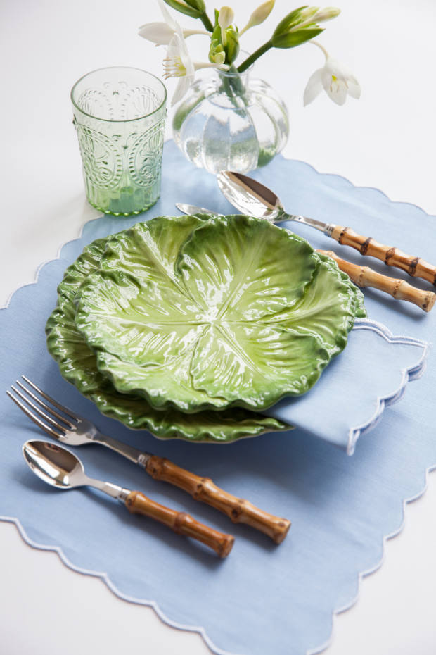 Bamboo-handled cutlery, £70 for a set of four, and cabbage-leaf crockery, from £28 for a starter plate