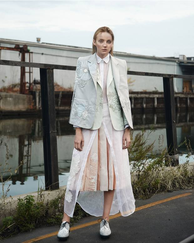 Thom Browne silk/cotton cape, about £4,000, silk/cotton jacket, about £3,800, silk organdie shirtdress, about £2,500, silk/cotton skirt, about £3,400, and leather brogues, about £795