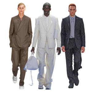 From left: Dior wool/mohair canvas Tailleur Oblique jacket, £2,200, andmatching trousers,£690. Louis Vuitton wool/mohair jacket, £2,150, matching trousers, £835, andcotton poplin shirt, £925. Burberry wool jacket, £1,390, matching trousers, £550, and silk shirt and tie, £590