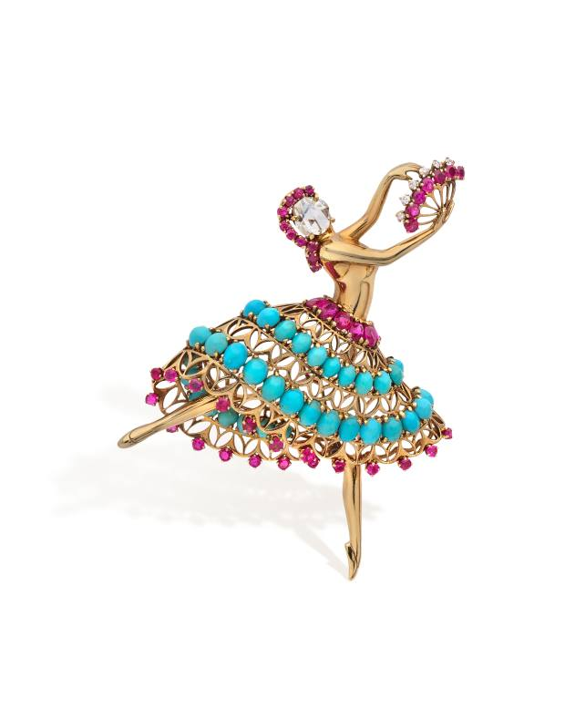 Van Cleef & Arpels diamond, ruby, turquoise and 18ct gold ballerina clip, €60,000-€80,000
