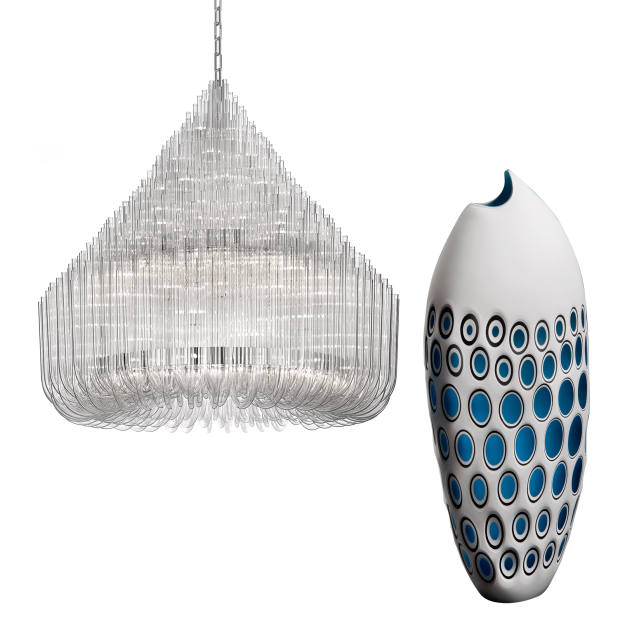 From left: Maurizio Galante for Lasvit Ludwig chandelier, from £20,900, and Bruce Marks Cut Fish, £1,250