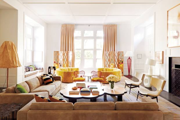 The elegantly playful living room of a Connecticut home designed by Mahdavi