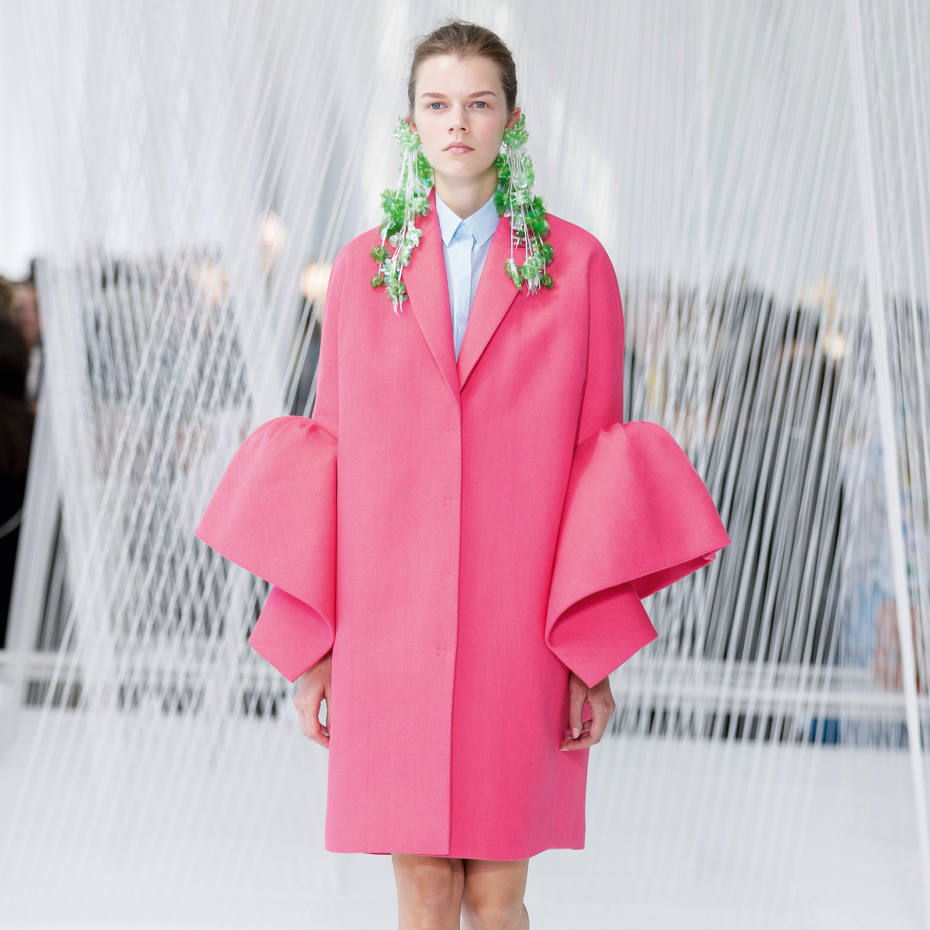 Delpozo linen coat, £1,900, and crystal earrings, price on request