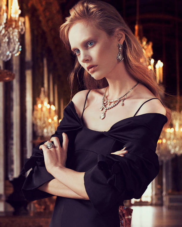 Dior wool and silk satin dress, £3,800. Dior Fine Jewellery Galerie des Glaces white and rose gold, platinum, darkened silver and diamond earrings, matching necklace, and white and rose gold, darkened silver and diamond ring, all price on request