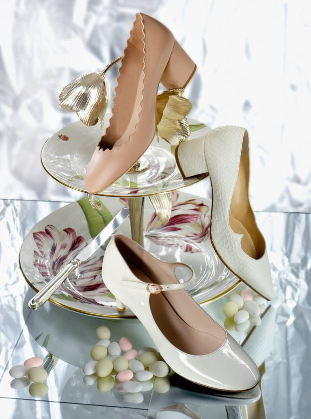 Chloé leather pumps, £350. Paul Andrew python Wing block heels, £785. Repetto leather Belita Mary James, £300. Asprey china and silver cake stand, £8,000. Wedgwood silver plated cake knife (comes with server), £40 for the set