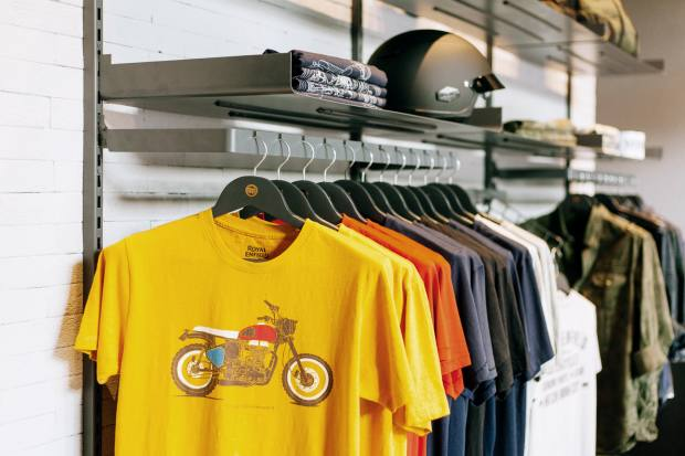 Royal Enfield also sells a clothing line in its stores, which offer club‑like surroundings
