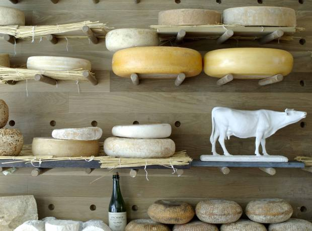 Cheese on display at La Fromagerie, off Marylebone High Street in London.