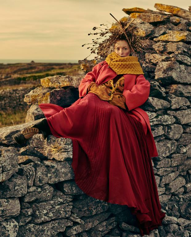 Dior felted wool coat, £2,800. Vivienne Westwood Gold Label wool/linen/cotton Broken jacket, £840. Elie Saab silk georgette gown, about £3,690. Inis Meáin cashmere/merino wool Blackberry Creel snood, about £100. Le Yucca's leather and suede Karena boots, £990, from Egg. Marwood hand dyed mohair socks, £40. Locally sourced headpiece by Craig Marsden