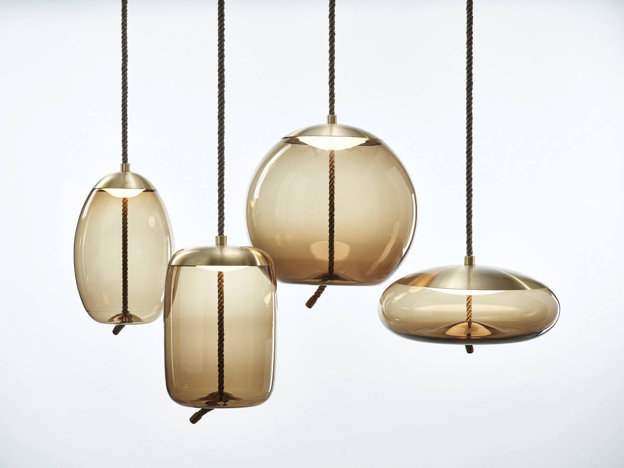 Knot glass pendant lights, from £250