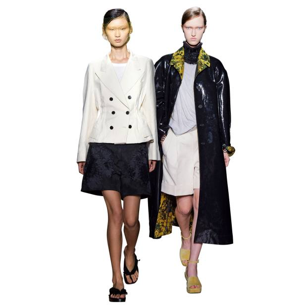 From left: Dries Van Noten cotton/linen jacket,£1,364, cotton T-shirt, £117, embellished cotton/linen shorts, £960,and viscose/cotton/wool sandals, £780; polyester/cotton/viscose coat, £1,970, nylontulle T-shirt, £149, cotton/linen shorts, £450,and embroidered cotton collar, £355
