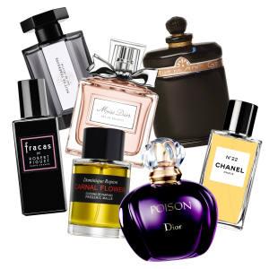 Clockwise from top left: L'Artisan Parfumeur Nuit de Tubéreuse, £86 for 50ml EDP; Miss Dior, £52 for 30ml EDP; Caron's Nuit de Noël, £192 for 28ml EDP; Chanel No 22, £140 for 75ml EDP; Dior's Poison, £47 for 30ml EDT; Frédéric Malle's Carnal Flower, £165 for 50ml EDP; Robert Piguet's Fracas, £95 for 50ml EDP