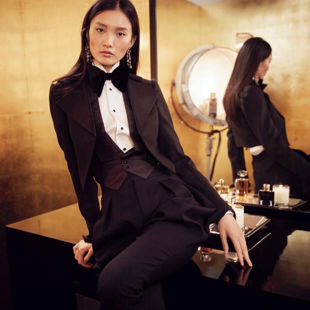 Ralph Lauren wool jacket, £1,700, silk jacquard waistcoat, £1,000, cotton shirts, £830, wool/silk trousers, £1,700, and velvet bow-tie, £155