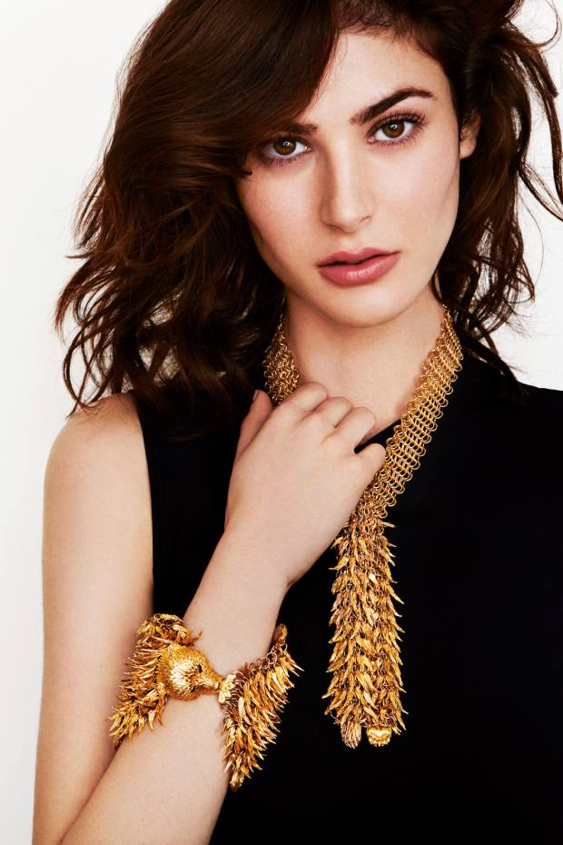 Simon Harrison gold-plated Bear necklace, £595, and bracelet, £1,490