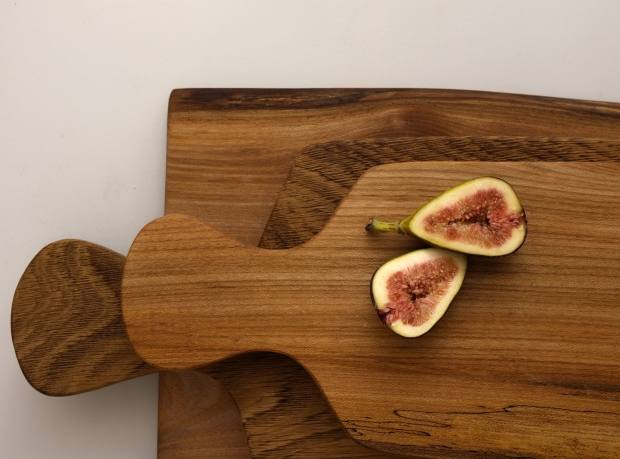 Hand-carved elm chopping board, £44