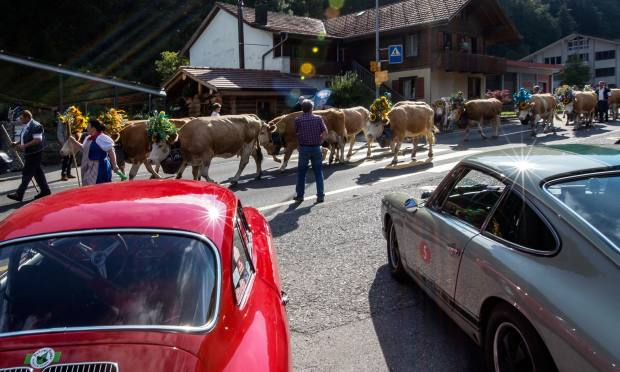 The hotel overlooks the picturesque town of Gstaad