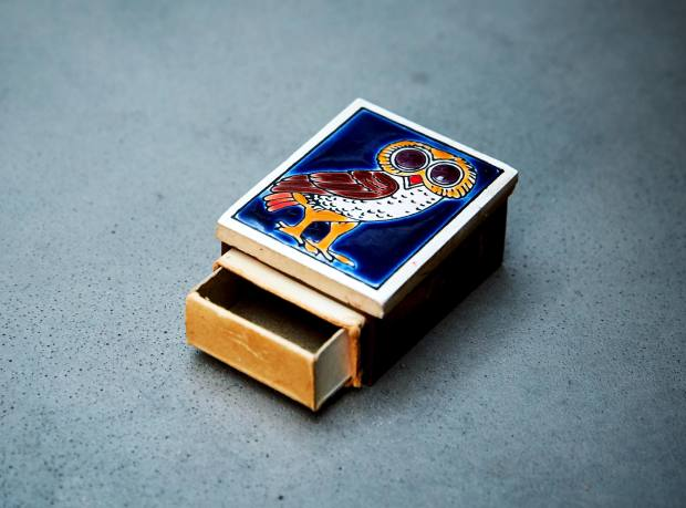 The ceramic matchbox that belonged to Jones' mother