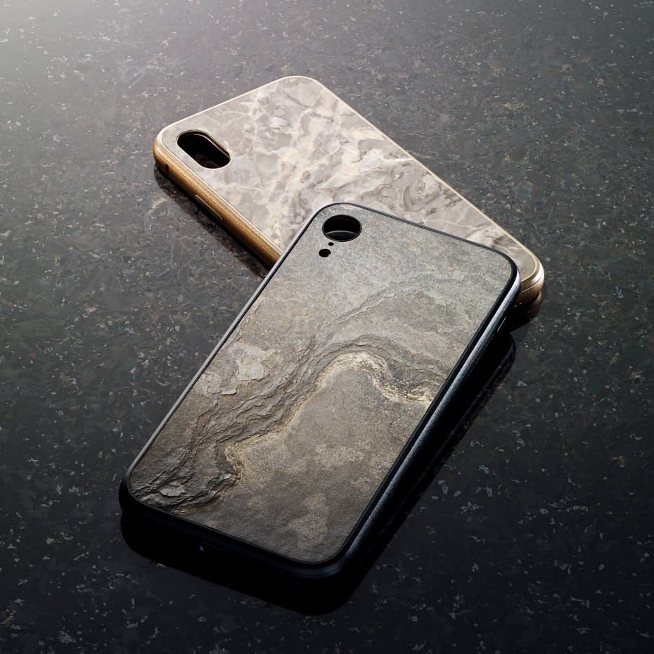 Roxxlyn Emperador grey marble case, £88, top, and Transocean Indian slate case, £58