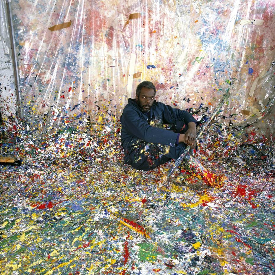 Sam Gilliam in his Washington DC studio, 1980