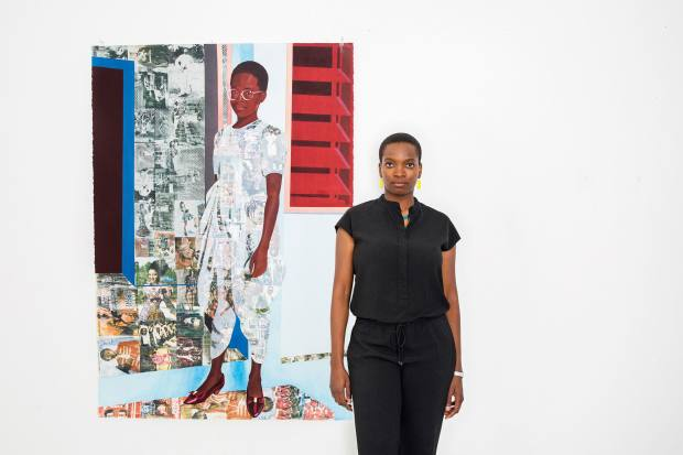 Njideka Akunyili Crosby with her 2014 work from The Beautyful Ones series