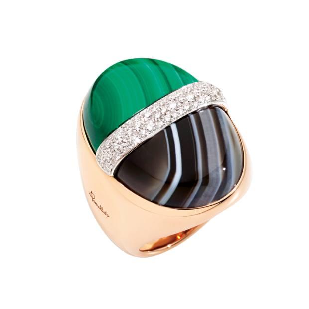 Pomellato gold, diamond, malachite and agate ring, POA