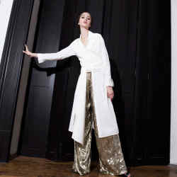 Kris Goyri silk and velvet lamé trousers, $1,360
