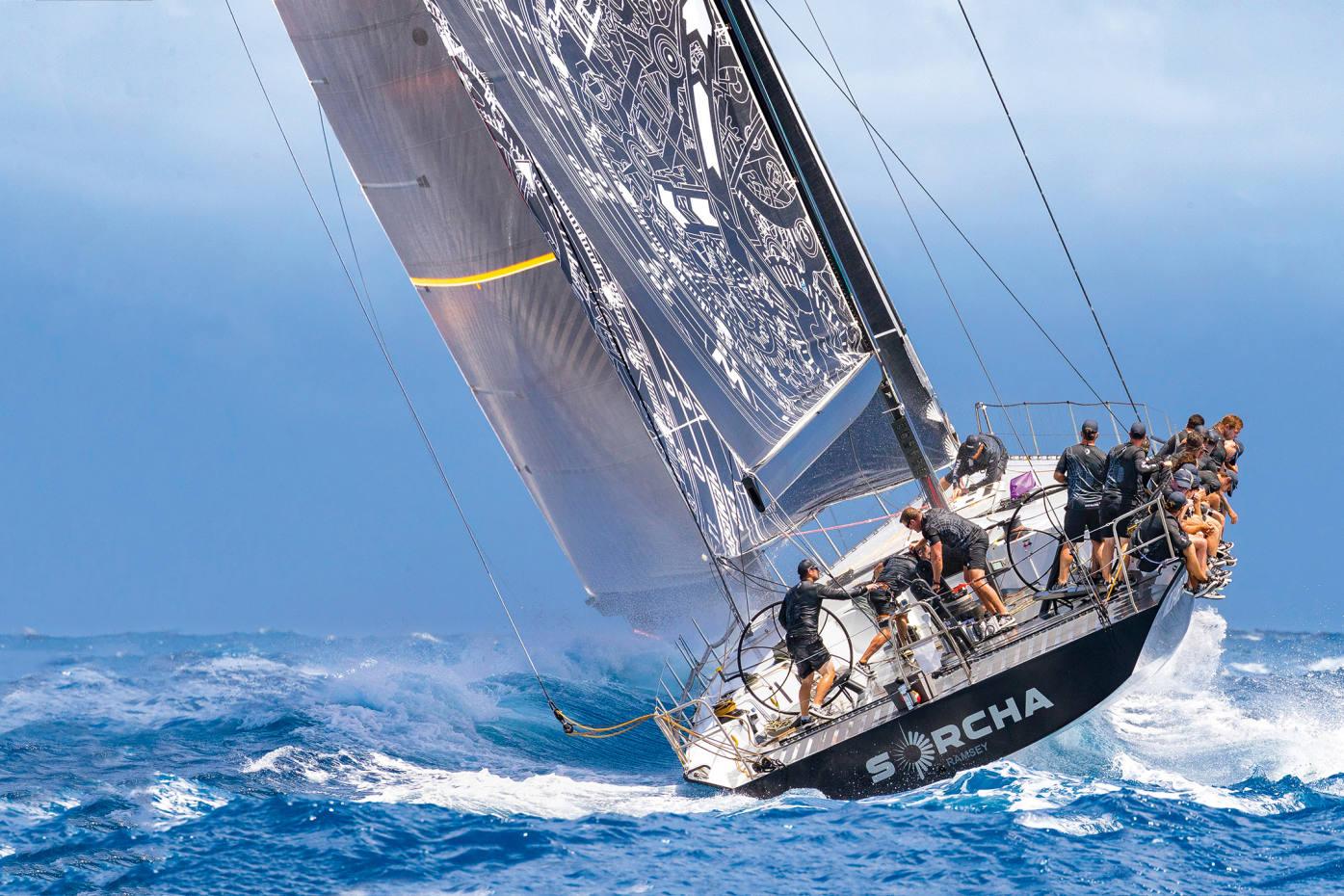 The Maxi 72 race boat Sorcha inLesVoiles de St Barth regatta inApril