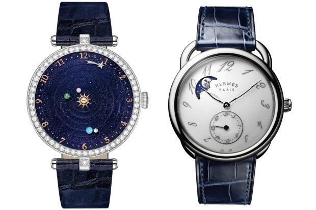 From left: Van Cleef & Arpels Lady Arpels Planétarium, POA, from Harrods. Hermès Arceau Petite Lune, £6,250