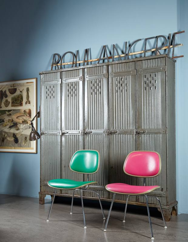 Strafor locker from c1928, €4,800, and Eames two-piece plastic chairs from 1971, €1,375 each