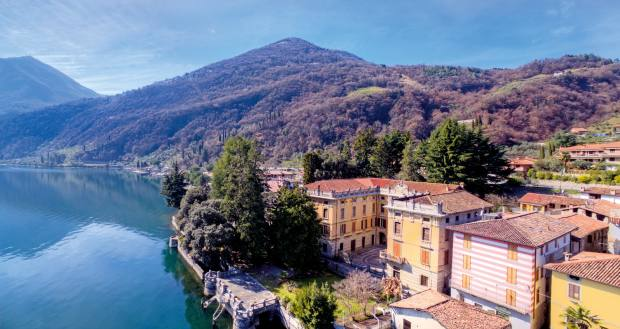 A 20-bedroom, 3,000sq m villa on the shores of Lake Iseo, with panelled walls, frescoes and barrel-vaulted ceilings, €3.7m through Lionard