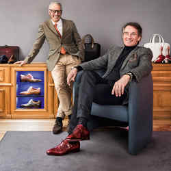 Gallerist Tim Jefferies (seated) with Parisian shoemaker Pierre Corthay at his London boutique