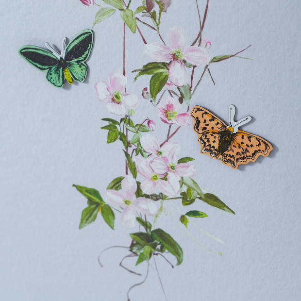 Hand-drawn butterflies can be added to the magnetic version of Clematis, £440 a roll