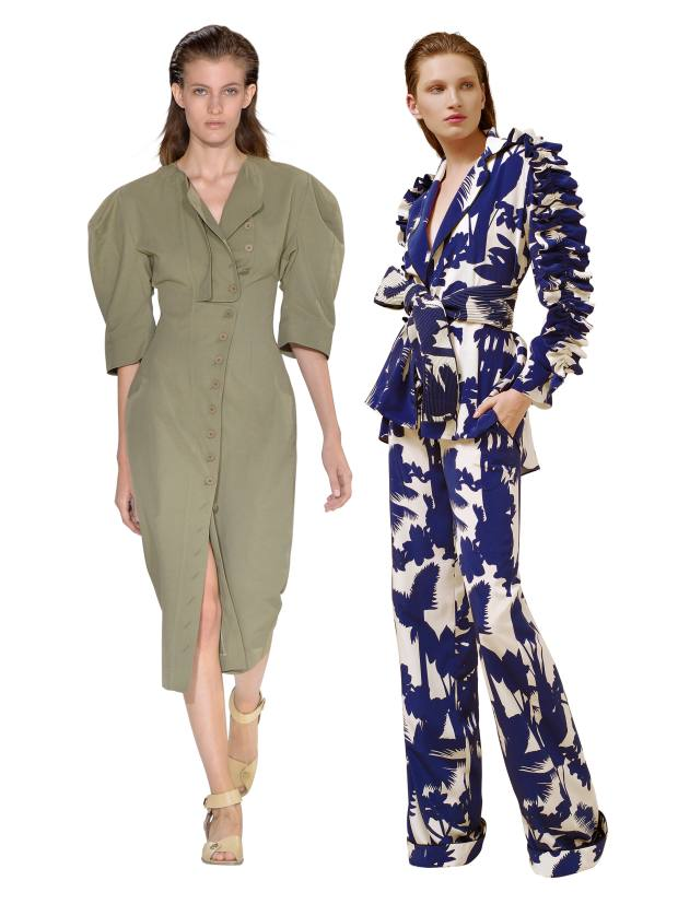 Left: Stella McCartney cotton Kathy dress, £785. Right: Johanna Ortiz silk blazer, $1,995, and matching trousers, $1,150