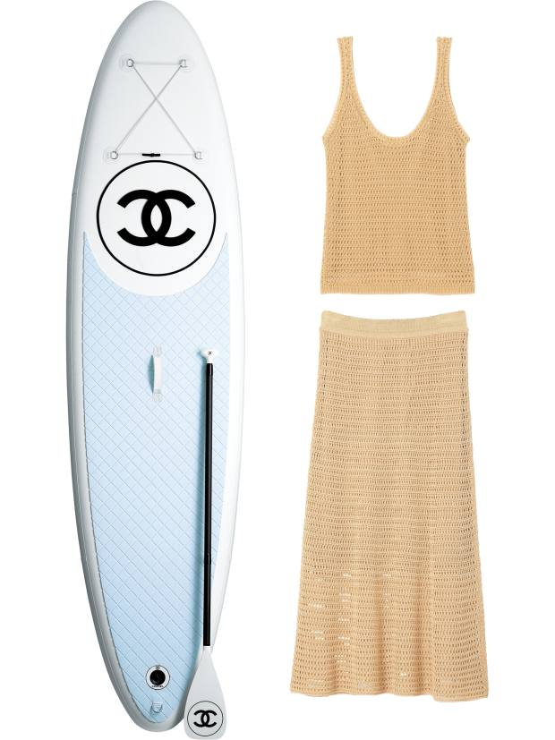 Chanel paddle board, POA. Vince top, £220, and skirt, £340