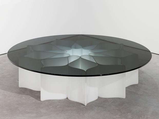 Pierre Paulin smoke-glass-topped Rosace table at Paulin, Paulin, Paulin