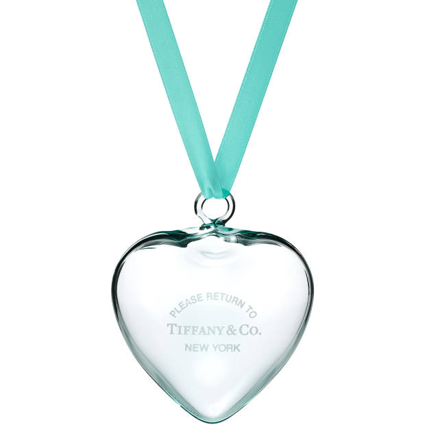"Tiffany & Co has engraved its crystal heart bauble, £75, with the phrase ""Please return to Tiffany & Co, New York"""