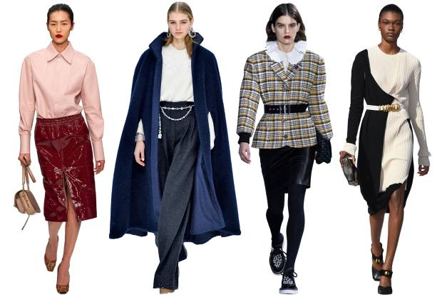 From left: Tod's leather shirt, £2,250, and leather skirt, £1,070. Chanel faux-fur cape,£5,700, wooljumper, £7,325, and cashmere/wool trousers, £3,225. Louis Vuitton wool jacket, £2,510, nylon shirt, £1,380, and leather skirt, £1,980. BottegaVeneta mohair dress,£2,350