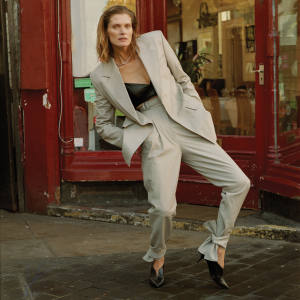 Malgosia Bela photographed for How To Spend It's spring fashion special. She wears Proenza Schouler leather blazer, €2,875, and matching trousers, €1,940. Intimissimi leather bandeau, £69. Pierre Hardy leather The Secret pumps, €590. Byredo x Charlotte Chesnais silver Value chain, from £1,450