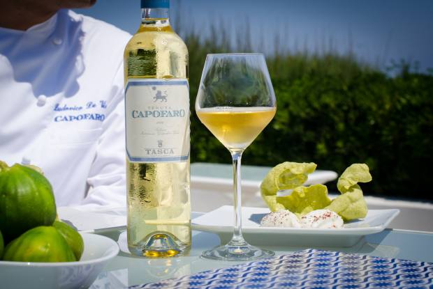 Capofaro's eponymous sweet wine, a 100 per cent Malvasia, with Ludovico De Vivo's anchovy and spinach crisp-topped sweet ricotta