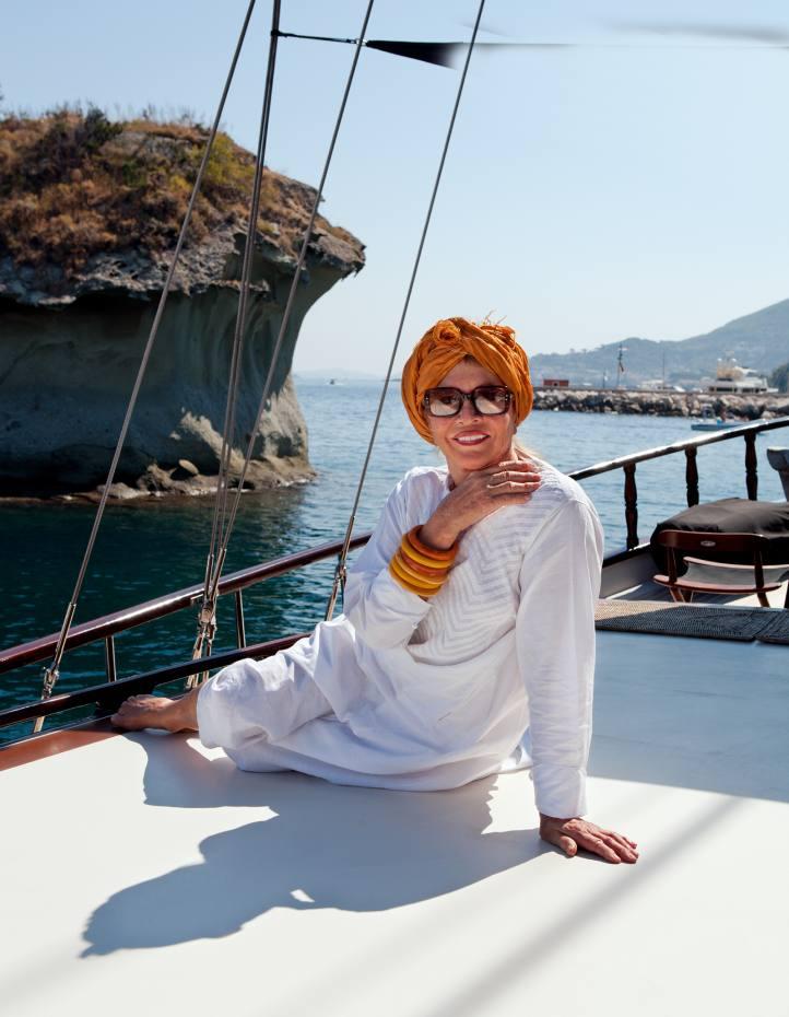 Anouska Hempel on her yacht Beluga, moored in Ischia