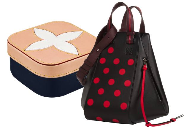 From left: Louis Vuitton leather and canvas Clarence nesting box for the Gifting collection, from £365. Loewe calfskin Dot Intarsia Hammock bag,£2,350