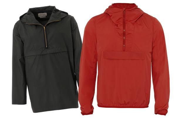 From left: Oliver Spencer polyester cagoule, £289. Orlebar Brown nylon/elastane Nichol cagoule, £295