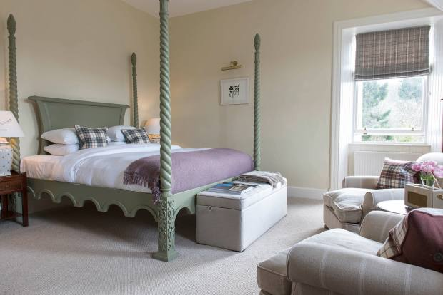 The bedrooms feature four-poster or sleigh beds and cashmere blankets from Johnstons of Elgin