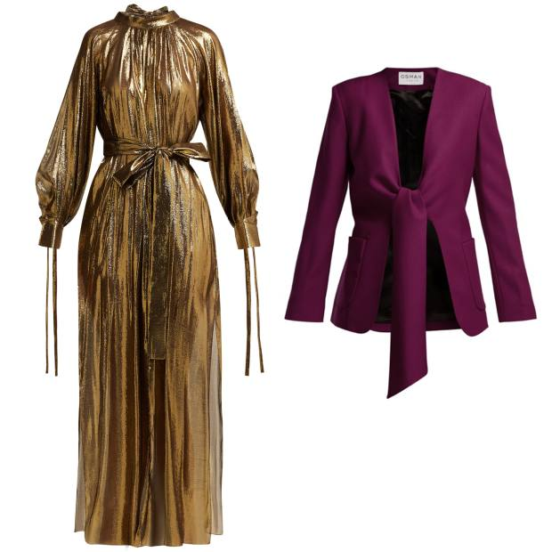 From left: silk lamé gown, £1,245. Wool jacket, £790