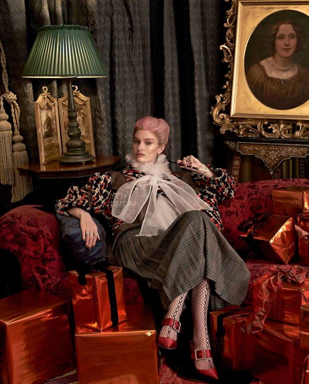 Miu Miu leather and wool jacket, £2,410. Nabil Nayal polyester Alexander kaftan, £650. Daks virgin wool skirt, £250. UK Tights Fiore Myrna fishnet tights, £6.99. Manolo Blahnik satin Beladona heels with crystal buckle, £795. De Beers white gold and diamond Phenomena earrings, price on request, white gold and diamond Atea brooch, £22,900, (right arm from top) white gold and diamond bracelet, price on request, white gold and diamond Adonis ring, £15,700, gold and diamond Aella ring, price on request, (right arm from top) platinum and diamond Lea bracelet, price on request, and white gold and diamond Aria ring, £13,300  House of Hackney jacquard Indienne cushion, £165. VV Rouleaux velvet ribbon, £3.10 per m. Dalton Manor wrapping paper, £6.99 per sheet